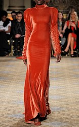 Christian Siriano Velvet Long Sleeve Gown Orange