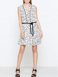Kenzo Rope Print Tie Waist Dress White