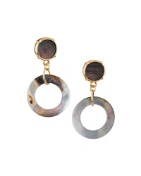Emily And Ashley Greenbeads By Emily And Ashley Golden Round Mother Of Pearl Double Drop Earrings Brown
