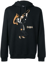 Dolce And Gabbana Trombonist Patch Hoodie Black