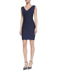 Herve Leger V Neck Low Back Fitted Bandage Dress Pacific Blue