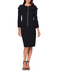 Tahari By Arthur S. Levine Petite Solid Cape Jacket And Skirt Suit Black