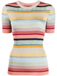 Missoni Short Sleeved Striped Knit Top Neutrals