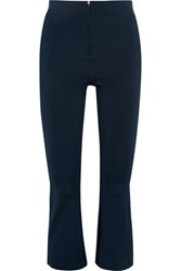 Ganni Rogers Cropped Lace Trimmed Stretch Jersey Bootcut Pants Midnight Blue