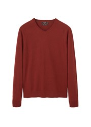 Mango Men's Cotton Cashmere Blend Sweater True Red