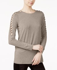 Kensie Lace Up Detail Sweater Flax Heather