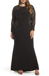 Marina Plus Size Women's Lace And Knit A Line Gown Black