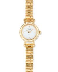 Herm S Fauborg Tpm Watch With Diamonds In 18K Yellow Gold