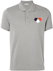 Moncler Logo Plaque Polo Shirt Men Coconut Xxl Grey