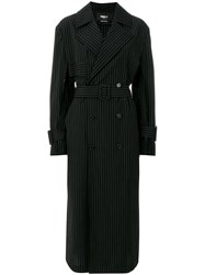 Yang Li Striped Trench Coat Black