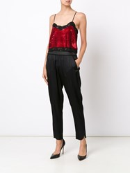 Ashish Sequinned Lace Camisole Top Red