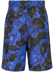 Prada Floral Print Knee Length Shorts Blue