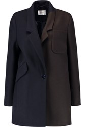 Carven Two Tone Wool Blend Felt Coat Midnight Blue