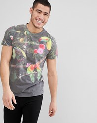 Solid T Shirt In Tropical Birds Print Black