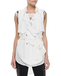 Haute Hippie Draped Flap Snap Sleeveless Trench Blouse Swan