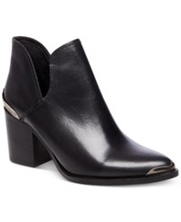 Steve Madden Women's Posey Cutout Pointed Toe Block Heel Booties Women's Shoes Black Leather