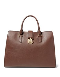 Lauren Ralph Lauren Carrington Brigitte Pebbled Leather Tote Brown