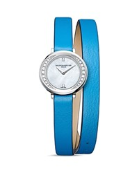 Baume And Mercier Petite Promesse Diamond Double Wrap Watch 22Mm White Blue
