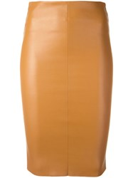 Drome Midi Fitted Skirt Nude Neutrals