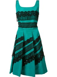 Oscar De La Renta Lace Applique Pleated Dress Green
