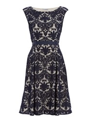 Shubette Embroidered Lace Fit And Flare Dress Navy