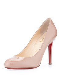 Christian Louboutin Simple Patent Red Sole Pump Nude Women's Size 38.0B 8.0B