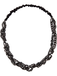 Maison Michel Polished Chain Headband Black