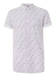 Topman White And Burgundy Leaf Print Short Sleeve Casual Shirt Red