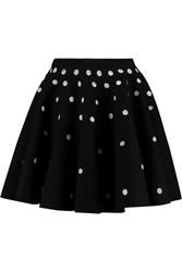 Giambattista Valli Polka Dot Stretch Ponte Mini Skirt Black