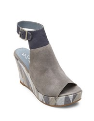 Matisse Harlequin Geometric Suede Wedge Sandals Light Grey