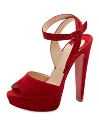 Christian Louboutin Louloudancing Platform Red Sole Sandal Black