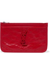 Saint Laurent Niki Quilted Crinkled Glossed Leather Pouch Red