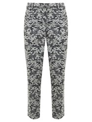 Mint Velvet Gia Print Cotton Capri Trousers Black White