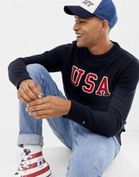 Tommy Hilfiger Usa Graphic Knitted Jumper Blue