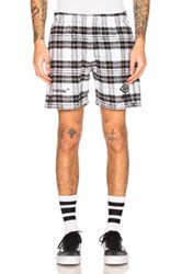 Off White X Umbro Shorts In Checkered And Plaid Black White Checkered And Plaid Black