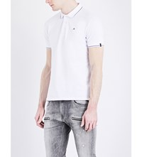 Replay Contrast Piping Stretch Piqua Polo Shirt Optical White