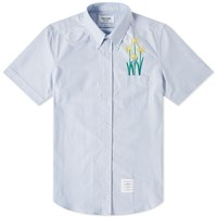 Thom Browne Short Sleeve Chrysanthemum Embroidered Button Down Shirt Blue