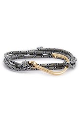 Miansai Men's Gold Hook Rope Bracelet Gray Blue
