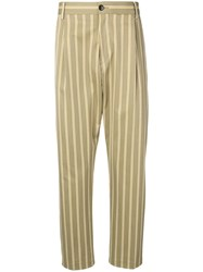 Closed Striped Tailored Cropped Trousers Green