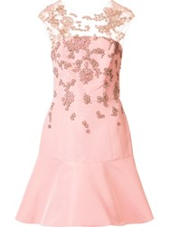 Monique Lhuillier Embroidered Detail Flared Dress Pink Purple