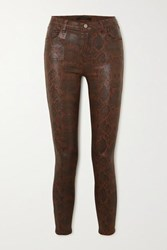 J Brand Alana Cropped Snake Effect High Rise Skinny Jeans Brown