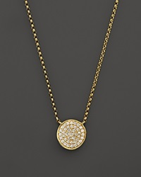 Kc Designs Diamond Pave Disc Pendant Necklace In 14K Yellow Gold 17.5 White