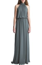 Levkoff Women's High Neck Chiffon A Line Gown Slate