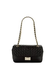 Karl Lagerfeld Quilted Convertible Leather Shoulder Bag Black