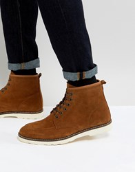 Asos Lace Up Boots In Tan Suede With White Wedge Sole