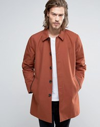 Asos Single Breasted Trench Coat With Shower Resistance In Rust Rust Orange