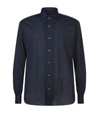 Corneliani Pique Cotton Shirt Male Navy