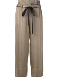 Brunello Cucinelli Belted Cropped Trousers Brown