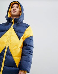 Wrangler Blue And Yellow Puffer Jacket Navy