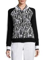 St. John Sport Collection Leopard Printed Jacket Black White